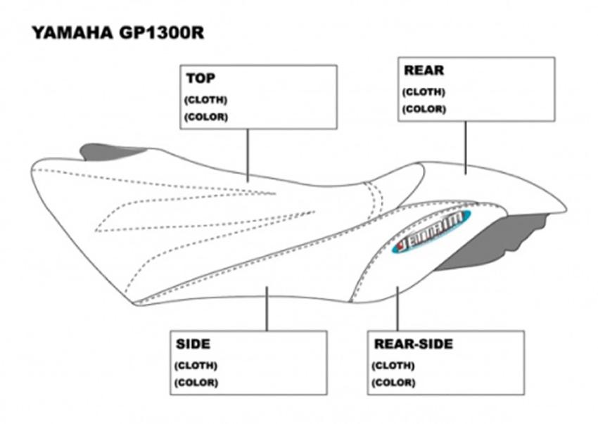 BLACK WHITE VINYL CUSTOM FITS YAMAHA 03-08 GP 1300 R 03-04 GP 800 R SEAT COVER